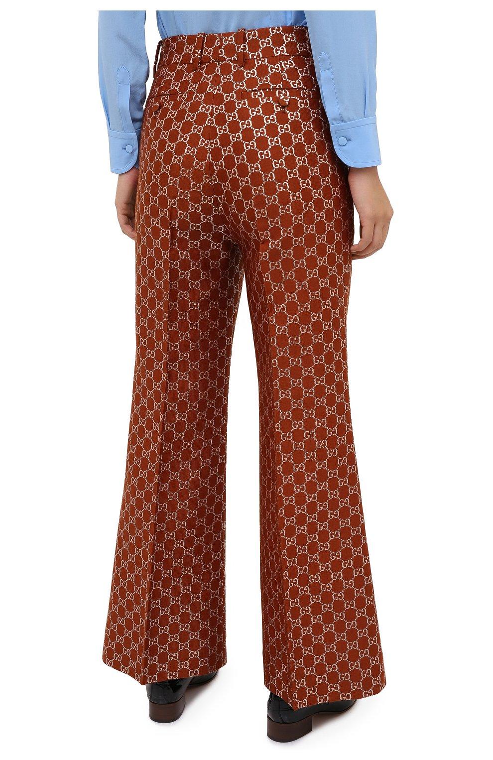 Женские брюки из шерсти и шелка GUCCI коричневого цвета, арт. 627877/ZAD7L | Фото 4