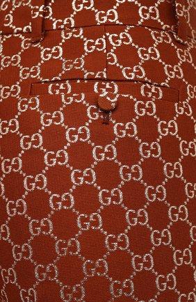Женские брюки из шерсти и шелка GUCCI коричневого цвета, арт. 627877/ZAD7L | Фото 5