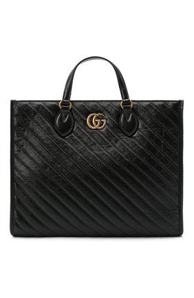 Женский сумка-шопер gg marmont GUCCI черного цвета, арт. 627332/00LFT | Фото 1