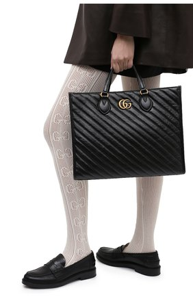 Женский сумка-шопер gg marmont GUCCI черного цвета, арт. 627332/00LFT | Фото 2