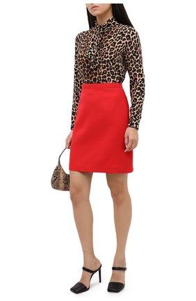 Женская юбка из шелка и шерсти GUCCI красного цвета, арт. 619479/ZAD88 | Фото 2