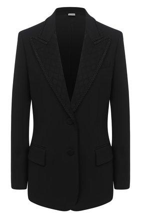 Женский жакет из шелка и шерсти GUCCI черного цвета, арт. 619255/ZAEV5   Фото 1