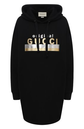 Женское хлопковое платье GUCCI черного цвета, арт. 610127/XJCR1   Фото 1