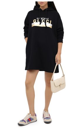 Женское хлопковое платье GUCCI черного цвета, арт. 610127/XJCR1   Фото 2
