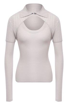 Женский пуловер JACQUEMUS светло-серого цвета, арт. 203KN25/226900   Фото 1