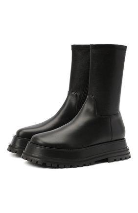 Женские кожаные ботинки BURBERRY черного цвета, арт. 8031247 | Фото 1
