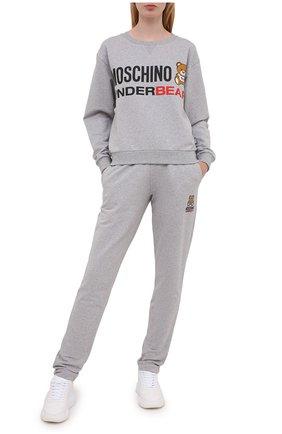 Женский хлопковый свитшот MOSCHINO UNDERWEAR WOMAN серого цвета, арт. A1709/9006 | Фото 2