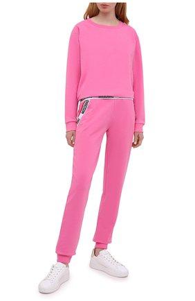 Женский хлопковый свитшот MOSCHINO UNDERWEAR WOMAN розового цвета, арт. A1701/9006 | Фото 2