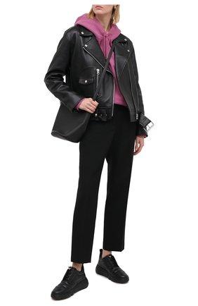 Женские кожаные кроссовки AGL черного цвета, арт. D938012BGKA0761013   Фото 2