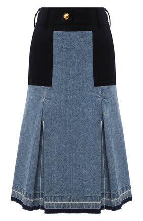 Женская джинсовая юбка SACAI темно-синего цвета, арт. 20-05150 | Фото 1