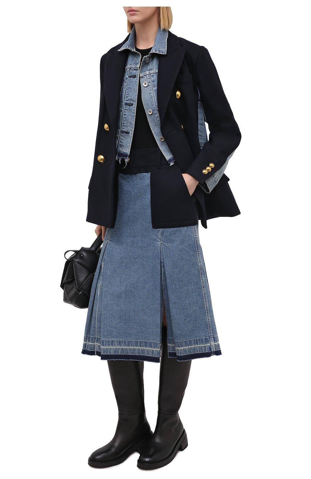 Женская джинсовая юбка SACAI темно-синего цвета, арт. 20-05150 | Фото 2