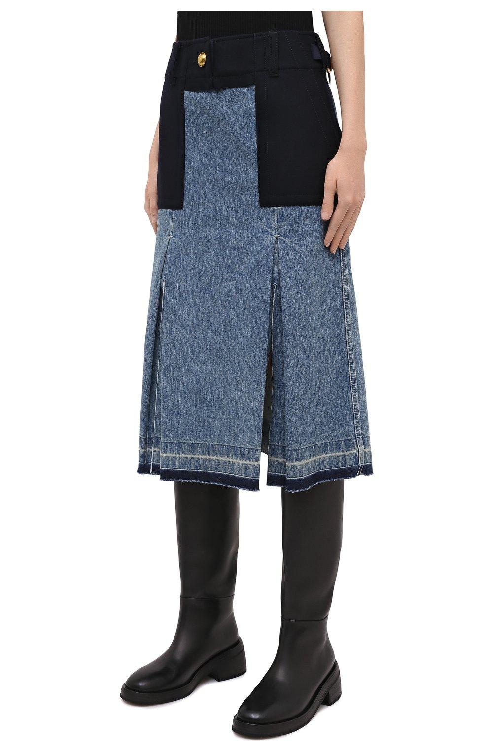 Женская джинсовая юбка SACAI темно-синего цвета, арт. 20-05150 | Фото 3