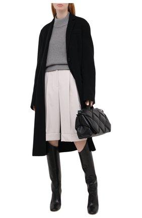 Женский свитер из хлопка и шерсти BOSS темно-серого цвета, арт. 50436172 | Фото 2