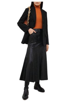 Женская кожаная юбка KENZO черного цвета, арт. FA62WJU047AD | Фото 2