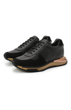 Женские кожаные кроссовки SALVATORE FERRAGAMO черного цвета, арт. Z-07368801C   Фото 1