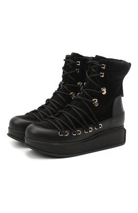 Женские комбинированные ботинки padded SALVATORE FERRAGAMO черного цвета, арт. Z-07333511C | Фото 1