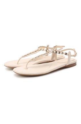 Женские кожаные сандалии vara SALVATORE FERRAGAMO белого цвета, арт. Z-07300621C | Фото 1