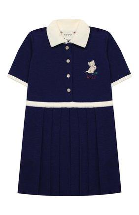Женский шерстяное платье GUCCI синего цвета, арт. 621871/XKBGW   Фото 1