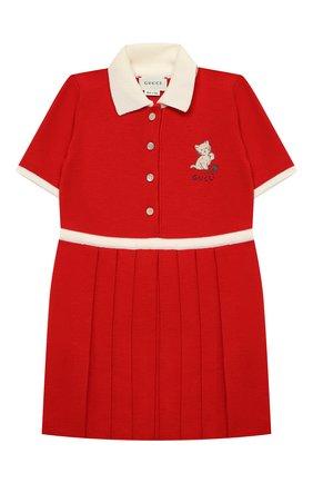 Женский шерстяное платье GUCCI красного цвета, арт. 621871/XKBGW | Фото 1