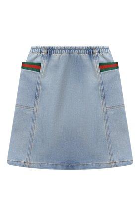 Детская джинсовая юбка GUCCI голубого цвета, арт. 621817/XDBDE | Фото 2