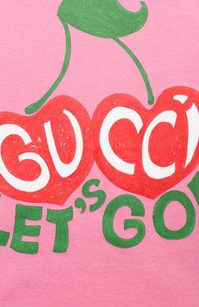 Детский хлопковая футболка GUCCI розового цвета, арт. 600123/XJCSX | Фото 3