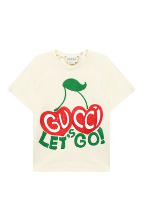 Детский хлопковая футболка GUCCI бежевого цвета, арт. 600123/XJCSX | Фото 1