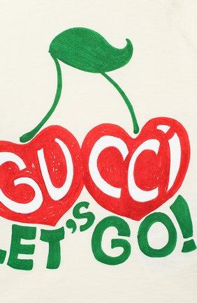 Детский хлопковая футболка GUCCI бежевого цвета, арт. 600123/XJCSX | Фото 3