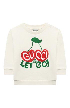 Детский хлопковый свитшот GUCCI белого цвета, арт. 552396/XJCXZ | Фото 1