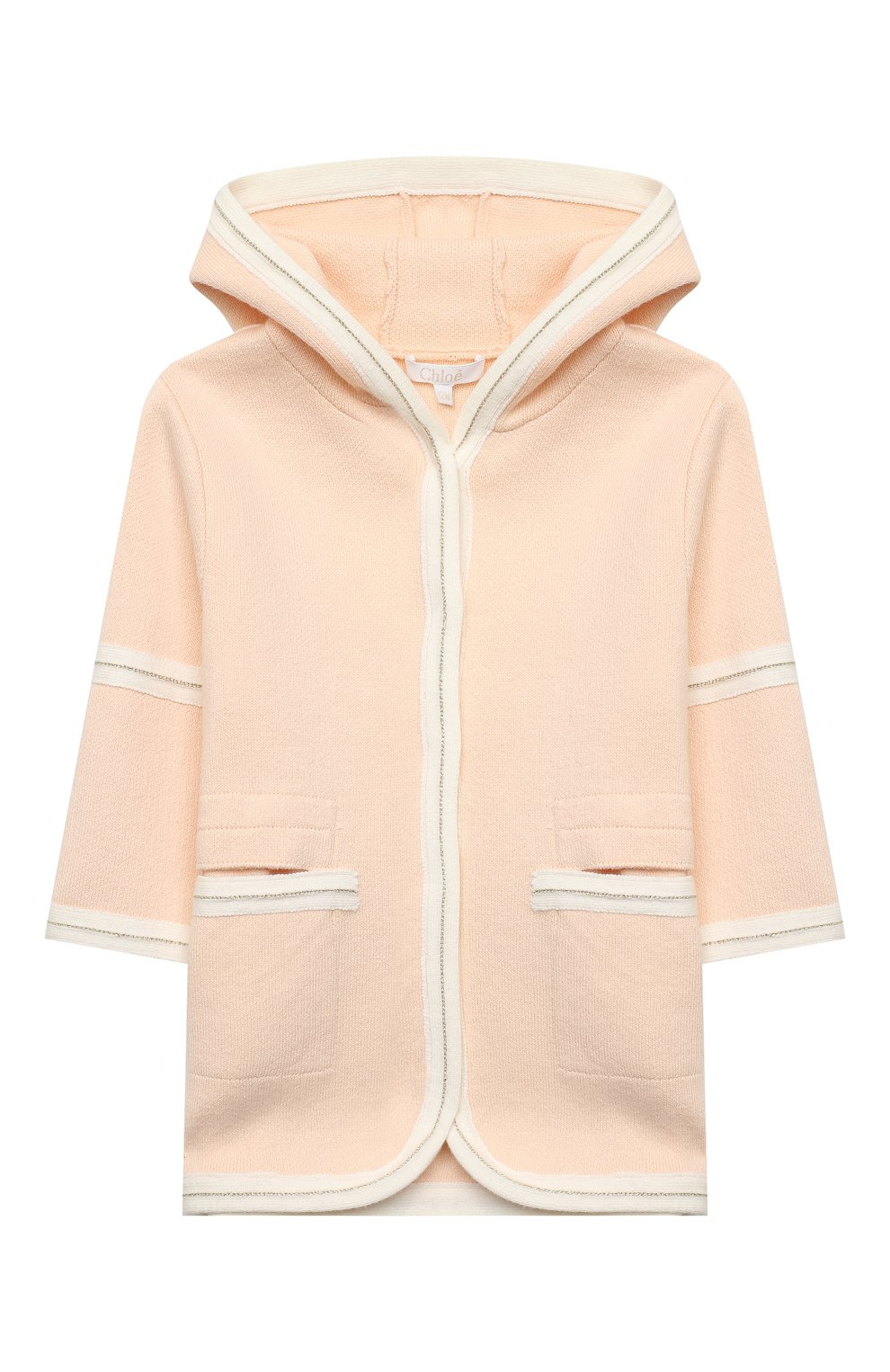 Детского хлопковое пальто CHLOÉ светло-розового цвета, арт. C06105 | Фото 1