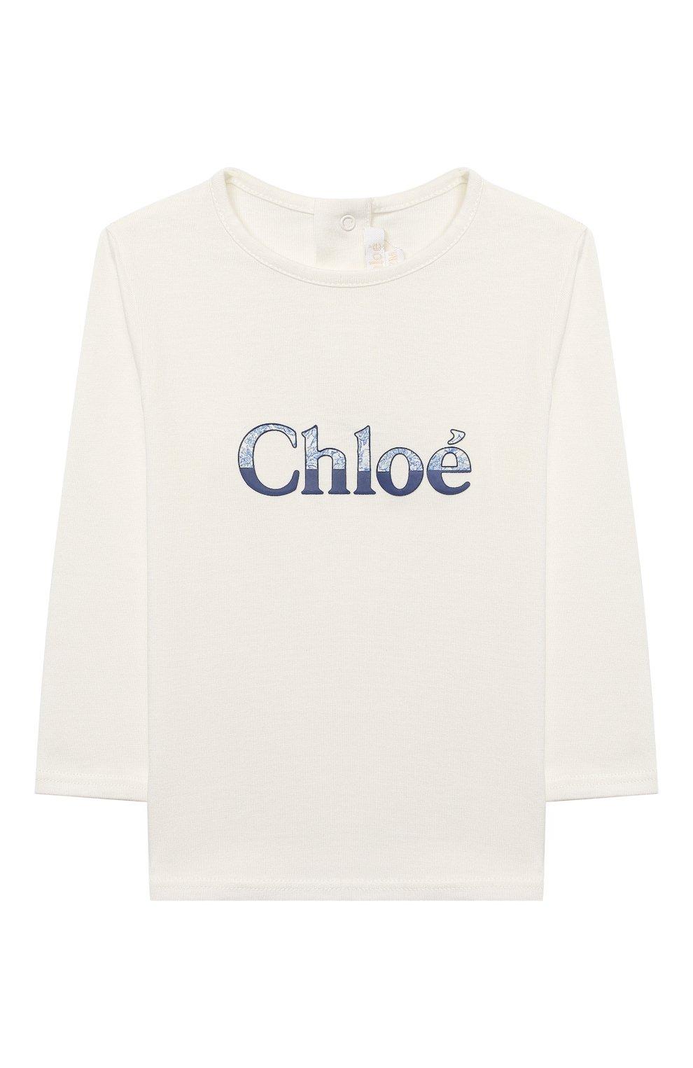 Детский хлопковый лонгслив CHLOÉ белого цвета, арт. C05345 | Фото 1
