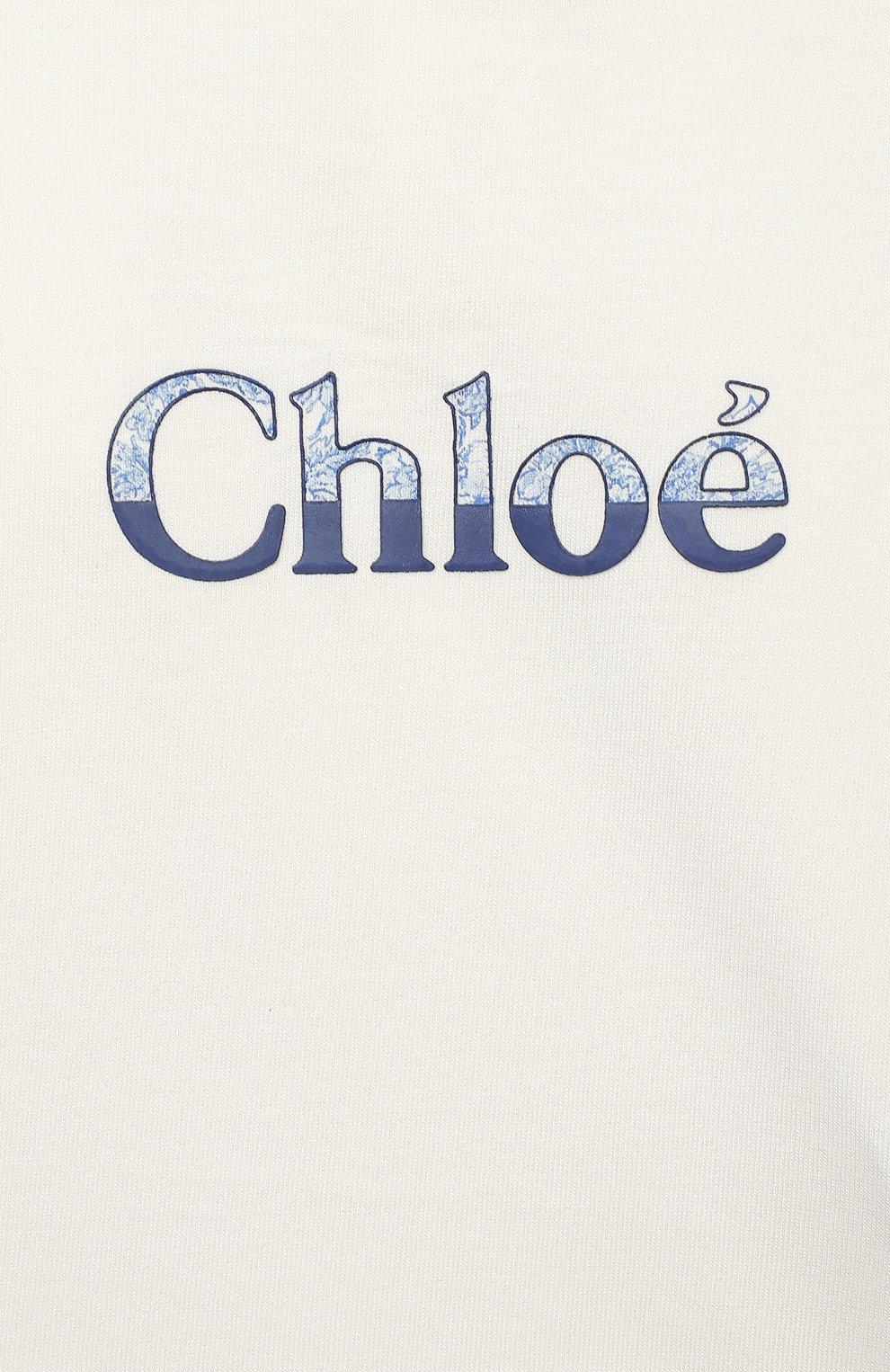 Детский хлопковый лонгслив CHLOÉ белого цвета, арт. C05345 | Фото 3