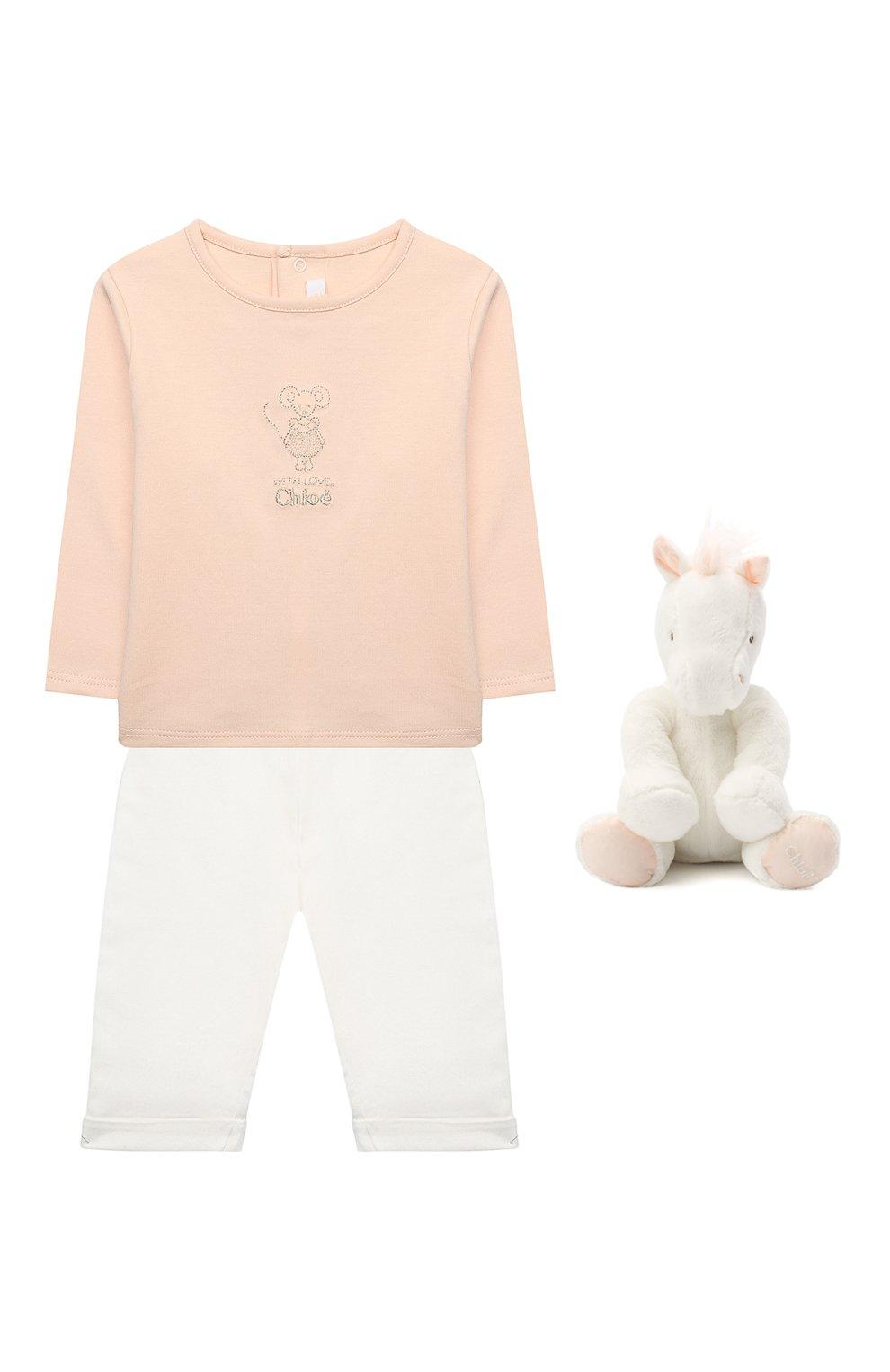 Детский комплект из трех вещей CHLOÉ белого цвета, арт. C9K194 | Фото 1