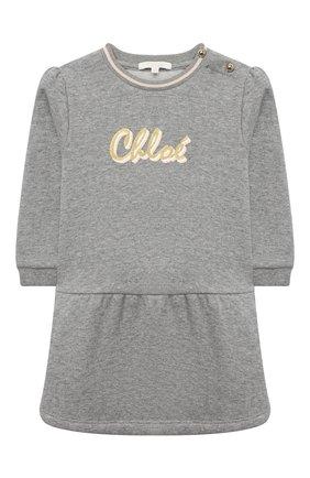 Женский хлопковое платье CHLOÉ серого цвета, арт. C02272 | Фото 1