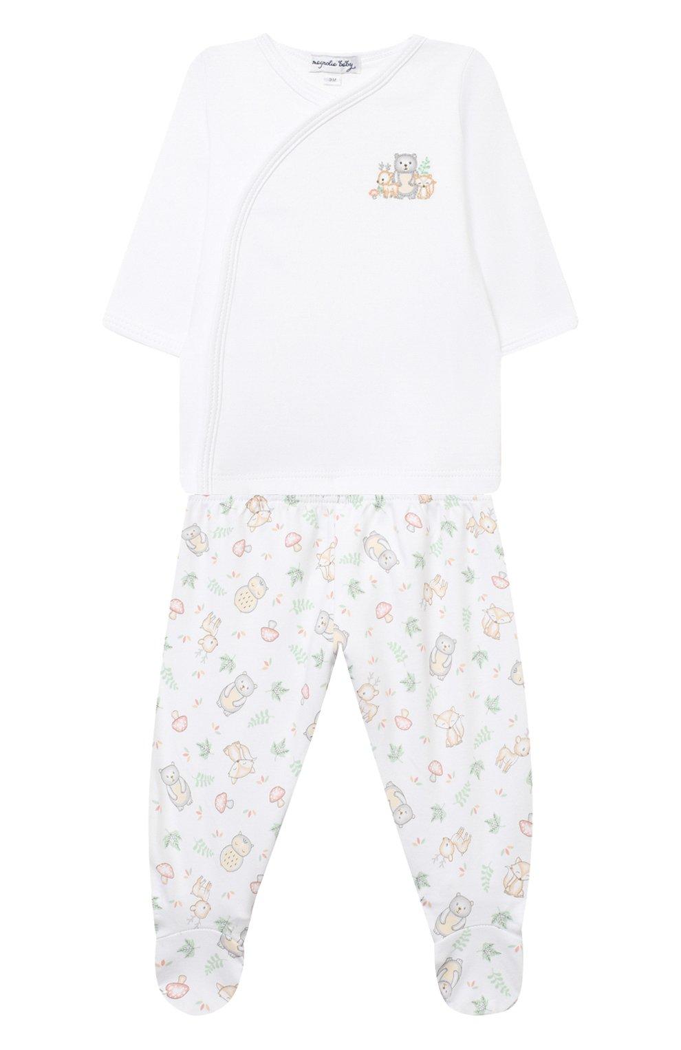 Детский комплект из распашонки и ползунков MAGNOLIA BABY белого цвета, арт. 562-735P-CE | Фото 1