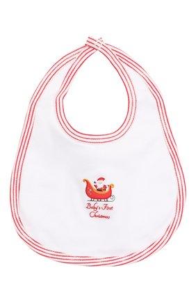 Детский хлопковый нагрудник MAGNOLIA BABY белого цвета, арт. 969-51B-WHRD   Фото 1 (Материал: Текстиль, Хлопок)