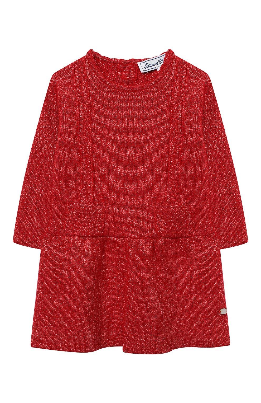Женский платье TARTINE ET CHOCOLAT красного цвета, арт. TR30091/1M-1A | Фото 1 (Рукава: Длинные; Материал внешний: Синтетический материал, Хлопок; Ростовка одежда: 6 мес | 68 см, 9 мес | 74 см)