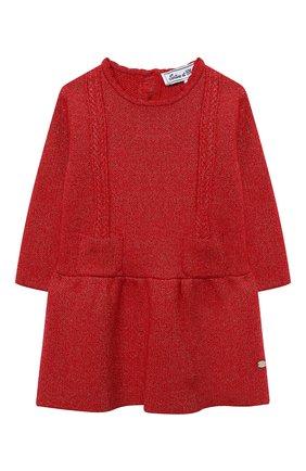Женский платье TARTINE ET CHOCOLAT красного цвета, арт. TR30091/1M-1A | Фото 1 (Материал внешний: Хлопок, Синтетический материал; Рукава: Длинные; Ростовка одежда: 6 мес | 68 см, 9 мес | 74 см)