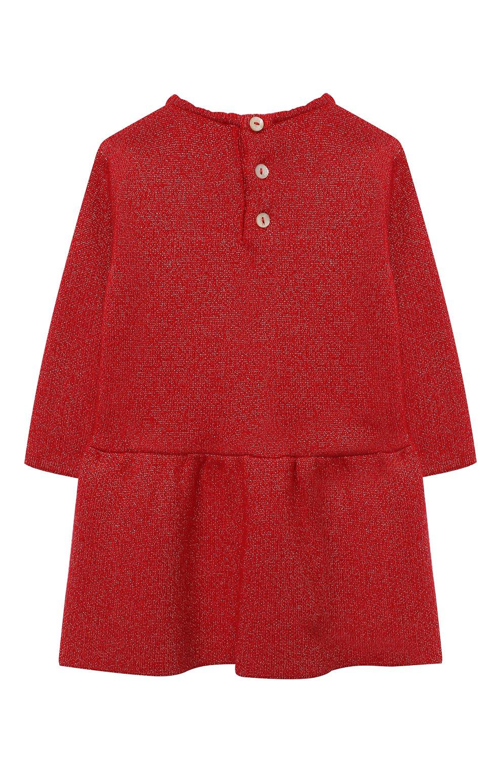Женский платье TARTINE ET CHOCOLAT красного цвета, арт. TR30091/1M-1A | Фото 2 (Рукава: Длинные; Материал внешний: Синтетический материал, Хлопок; Ростовка одежда: 6 мес | 68 см, 9 мес | 74 см)