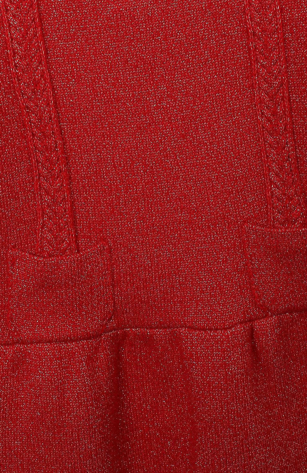 Женский платье TARTINE ET CHOCOLAT красного цвета, арт. TR30091/1M-1A | Фото 3 (Рукава: Длинные; Материал внешний: Синтетический материал, Хлопок; Ростовка одежда: 6 мес | 68 см, 9 мес | 74 см)