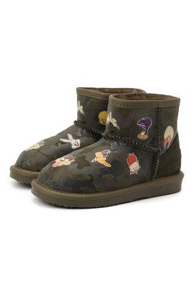 Детские ботинки с меховой отделкой MOA хаки цвета, арт. MDK550/24-31 | Фото 1