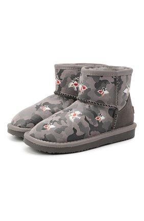 Детские ботинки с меховой отделкой MOA серого цвета, арт. MDK549/24-31 | Фото 1