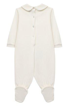 Детский хлопковый комбинезон MONNALISA белого цвета, арт. 356211P6 | Фото 2