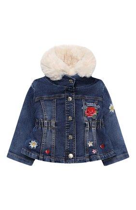 Детского джинсовая куртка MONNALISA синего цвета, арт. 396107RC | Фото 1