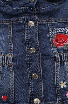 Детского джинсовая куртка MONNALISA синего цвета, арт. 396107RC | Фото 3