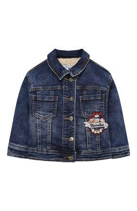 Детская джинсовая куртка MONNALISA синего цвета, арт. 196113AI | Фото 1