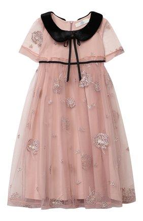 Детское платье ZHANNA & ANNA розового цвета, арт. ZAP0110820 | Фото 1 (Случай: Вечерний; Рукава: Короткие; Девочки Кросс-КТ: Платье-одежда)