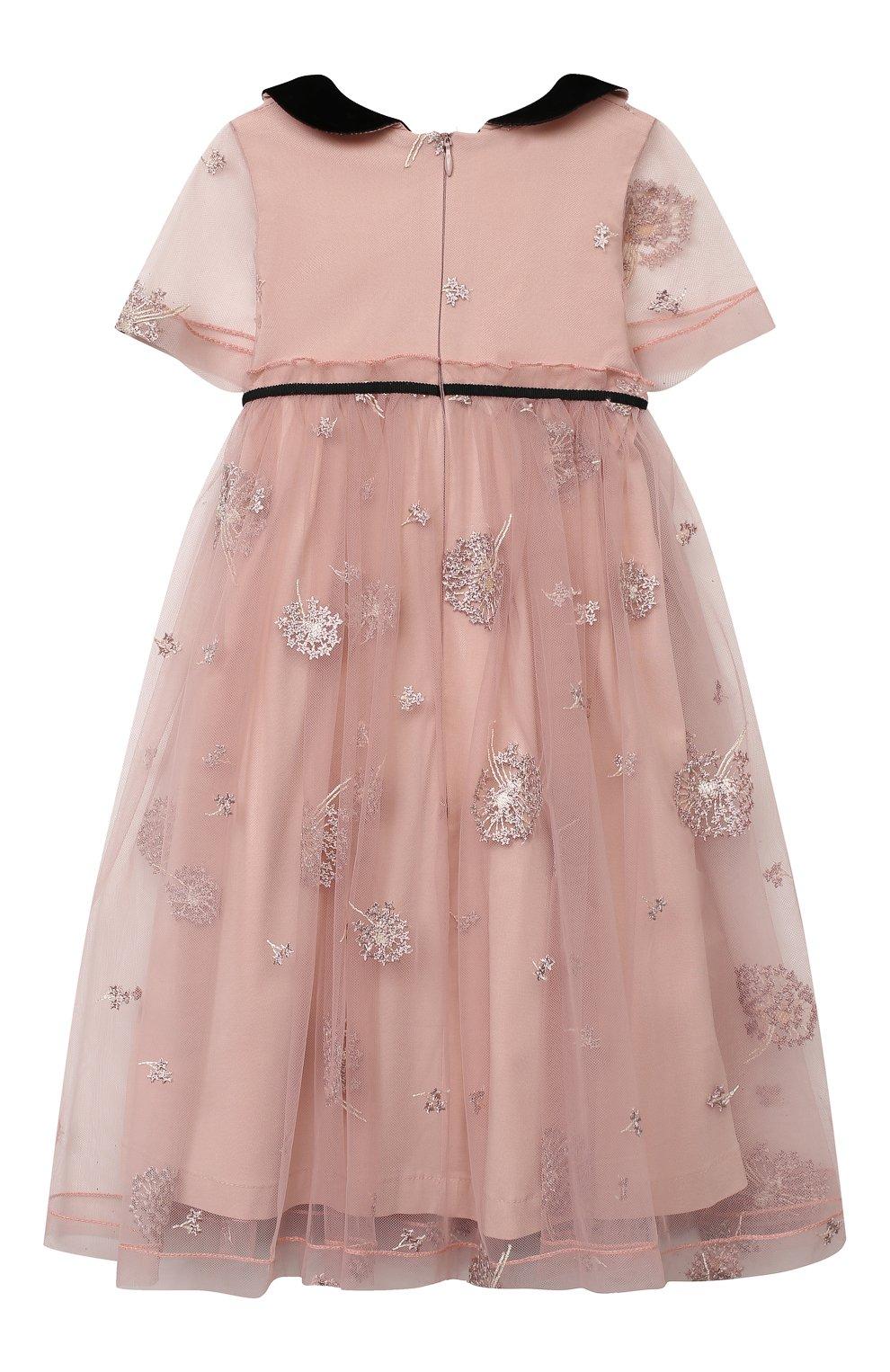 Детское платье ZHANNA & ANNA розового цвета, арт. ZAP0110820 | Фото 2 (Случай: Вечерний; Рукава: Короткие; Девочки Кросс-КТ: Платье-одежда)