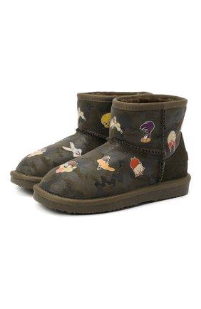 Детские ботинки с меховой отделкой MOA хаки цвета, арт. MDK550/32-35 | Фото 1