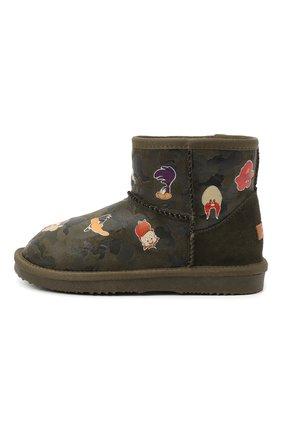 Детские ботинки с меховой отделкой MOA хаки цвета, арт. MDK550/32-35 | Фото 2
