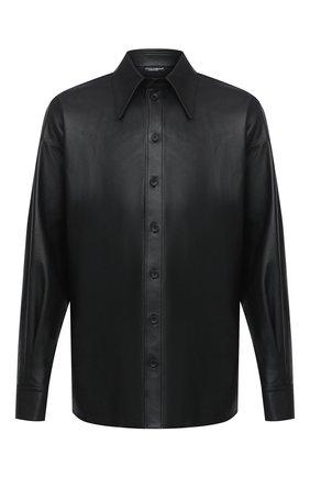 Мужская кожаная рубашка DOLCE & GABBANA черного цвета, арт. G5ID3L/HULD8 | Фото 1